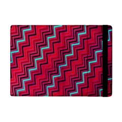 Red Turquoise Black Zig Zag Background Ipad Mini 2 Flip Cases