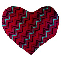 Red Turquoise Black Zig Zag Background Large 19  Premium Flano Heart Shape Cushions