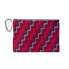 Red Turquoise Black Zig Zag Background Canvas Cosmetic Bag (M)