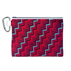 Red Turquoise Black Zig Zag Background Canvas Cosmetic Bag (l)