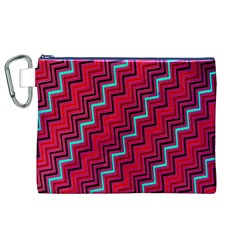 Red Turquoise Black Zig Zag Background Canvas Cosmetic Bag (XL)
