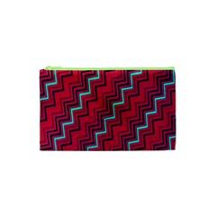 Red Turquoise Black Zig Zag Background Cosmetic Bag (XS)
