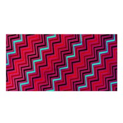 Red Turquoise Black Zig Zag Background Satin Shawl