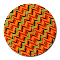 Orange Turquoise Red Zig Zag Background Round Mousepads