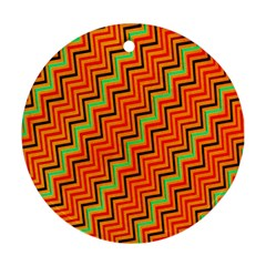 Orange Turquoise Red Zig Zag Background Ornament (Round)