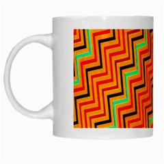 Orange Turquoise Red Zig Zag Background White Mugs