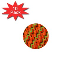 Orange Turquoise Red Zig Zag Background 1  Mini Buttons (10 Pack)