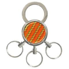 Orange Turquoise Red Zig Zag Background 3-Ring Key Chains
