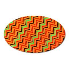 Orange Turquoise Red Zig Zag Background Oval Magnet