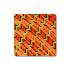 Orange Turquoise Red Zig Zag Background Square Magnet