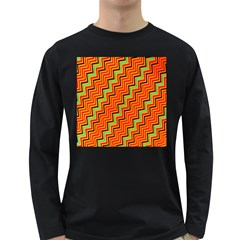 Orange Turquoise Red Zig Zag Background Long Sleeve Dark T-Shirts
