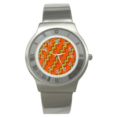 Orange Turquoise Red Zig Zag Background Stainless Steel Watch