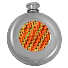 Orange Turquoise Red Zig Zag Background Round Hip Flask (5 Oz)