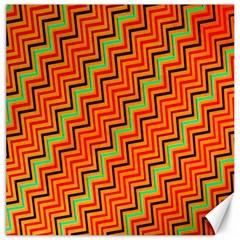 Orange Turquoise Red Zig Zag Background Canvas 16  X 16