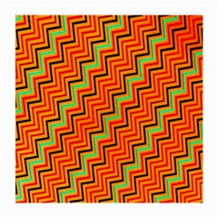 Orange Turquoise Red Zig Zag Background Medium Glasses Cloth