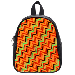 Orange Turquoise Red Zig Zag Background School Bags (small)
