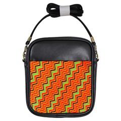 Orange Turquoise Red Zig Zag Background Girls Sling Bags