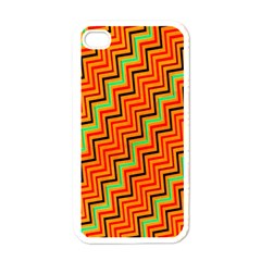 Orange Turquoise Red Zig Zag Background Apple iPhone 4 Case (White)