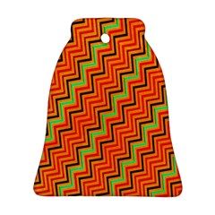 Orange Turquoise Red Zig Zag Background Bell Ornament (two Sides)