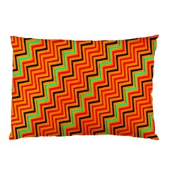 Orange Turquoise Red Zig Zag Background Pillow Case (two Sides)