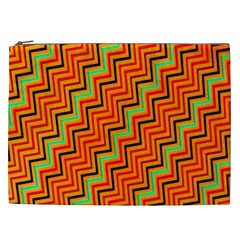 Orange Turquoise Red Zig Zag Background Cosmetic Bag (xxl)