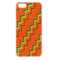 Orange Turquoise Red Zig Zag Background Apple Iphone 5 Seamless Case (white)