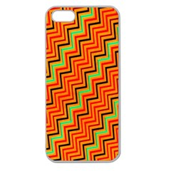 Orange Turquoise Red Zig Zag Background Apple Seamless iPhone 5 Case (Clear)