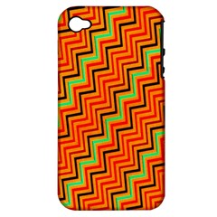 Orange Turquoise Red Zig Zag Background Apple iPhone 4/4S Hardshell Case (PC+Silicone)