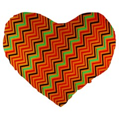Orange Turquoise Red Zig Zag Background Large 19  Premium Heart Shape Cushions