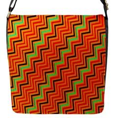 Orange Turquoise Red Zig Zag Background Flap Messenger Bag (S)