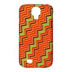 Orange Turquoise Red Zig Zag Background Samsung Galaxy S4 Classic Hardshell Case (pc+silicone)