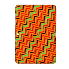Orange Turquoise Red Zig Zag Background Samsung Galaxy Tab 2 (10.1 ) P5100 Hardshell Case
