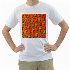Orange Turquoise Red Zig Zag Background Men s T Shirt (white)