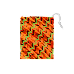 Orange Turquoise Red Zig Zag Background Drawstring Pouches (Small)