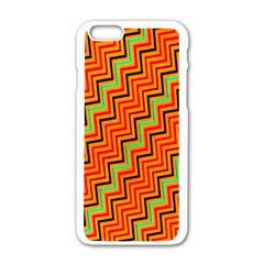 Orange Turquoise Red Zig Zag Background Apple iPhone 6/6S White Enamel Case