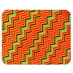 Orange Turquoise Red Zig Zag Background Double Sided Flano Blanket (Medium)
