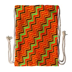 Orange Turquoise Red Zig Zag Background Drawstring Bag (large)