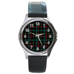 Tartan Plaid Pattern Round Metal Watch