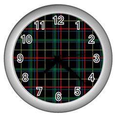 Tartan Plaid Pattern Wall Clocks (Silver)