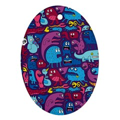 Hipster Pattern Animals And Tokyo Ornament (Oval)