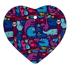 Hipster Pattern Animals And Tokyo Ornament (heart)
