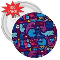Hipster Pattern Animals And Tokyo 3  Buttons (100 Pack)