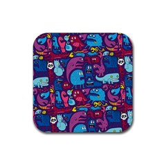 Hipster Pattern Animals And Tokyo Rubber Coaster (square)
