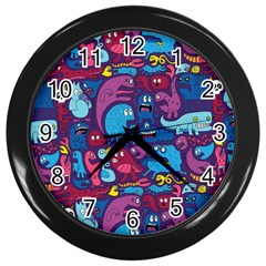 Hipster Pattern Animals And Tokyo Wall Clocks (Black)