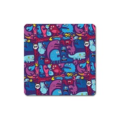 Hipster Pattern Animals And Tokyo Square Magnet