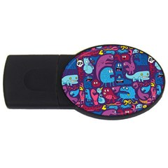 Hipster Pattern Animals And Tokyo USB Flash Drive Oval (2 GB)