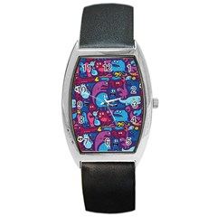 Hipster Pattern Animals And Tokyo Barrel Style Metal Watch