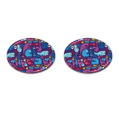 Hipster Pattern Animals And Tokyo Cufflinks (Oval)