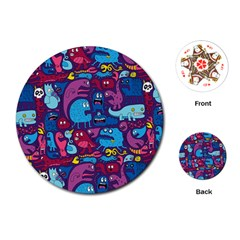 Hipster Pattern Animals And Tokyo Playing Cards (round)
