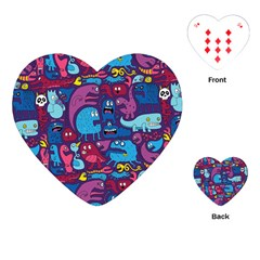 Hipster Pattern Animals And Tokyo Playing Cards (Heart)